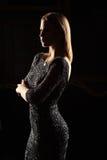 Siluetta dei bress della ragazza del nero di ina su fondo nero Immagine Stock Libera da Diritti