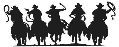 Siluetta dei cowboy Fotografia Stock Libera da Diritti