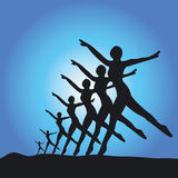 Siluetta dei danzatori di balletto Immagini Stock Libere da Diritti