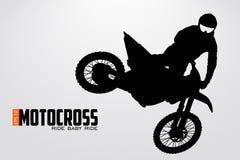 Siluetta dei driver di motocross Illustrazione di vettore Fotografia Stock