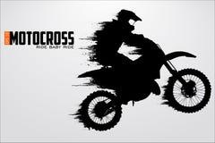 Siluetta dei driver di motocross Illustrazione di vettore Immagini Stock