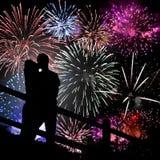 Siluetta dei fuochi d'artificio Fotografia Stock