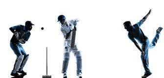 Siluetta dei giocatori del cricket Fotografia Stock Libera da Diritti