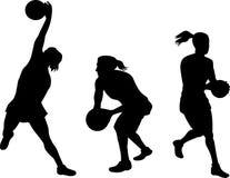 Siluetta dei giocatori del Netball Fotografia Stock Libera da Diritti