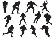 Siluetta dei giocatori di football americano fotografia stock libera da diritti