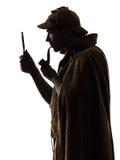Siluetta dei holmes di Sherlock Fotografia Stock Libera da Diritti