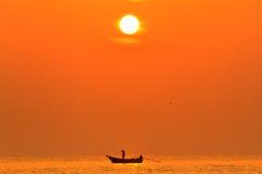 Siluetta dei pescatori Fotografie Stock Libere da Diritti