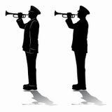 Siluetta dei trombettisti militari Illustrazione di vettore Fotografie Stock Libere da Diritti