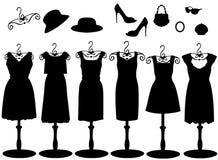 Siluetta dei vestiti & degli accessori delle donne Fotografie Stock Libere da Diritti