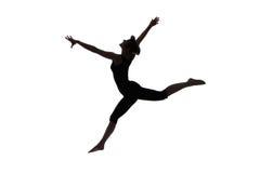 Siluetta del ballerino della donna Fotografia Stock Libera da Diritti