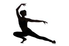 Siluetta del ballerino della donna Immagini Stock Libere da Diritti