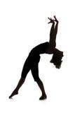 Siluetta del ballerino della donna Immagini Stock