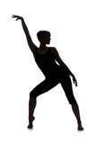 Siluetta del ballerino della donna Fotografia Stock