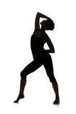 Siluetta del ballerino della donna Fotografie Stock