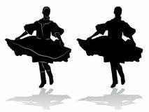 Siluetta del ballerino di folclore della donna, tiraggio di vettore illustrazione vettoriale