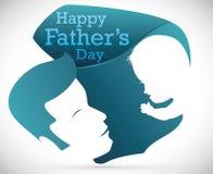 Siluetta del bambino e del papà nel segno speciale per la festa del papà, illustrazione di vettore Fotografia Stock
