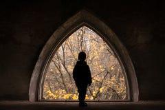 Siluetta del bambino su un blocco per grafici delle rovine del castello Fotografie Stock
