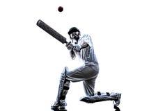 Siluetta del battitore del giocatore del cricket Fotografie Stock Libere da Diritti