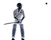 Siluetta del battitore del giocatore del cricket Immagini Stock Libere da Diritti