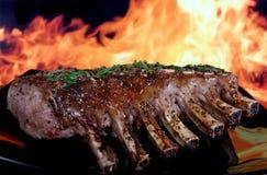 Siluetta del BBQ del giardino di estate isolato contro fuoco Immagini Stock