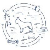 Siluetta del bulldog francese, ciotola, osso, spazzola, pettine, giocattoli illustrazione di stock