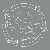 Siluetta del bulldog francese, ciotola, osso, spazzola, pettine, giocattoli illustrazione vettoriale