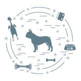 Siluetta del bulldog francese, ciotola, osso, spazzola, pettine, giocattoli royalty illustrazione gratis