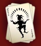 Siluetta del burlone sulle carte da gioco Immagini Stock Libere da Diritti
