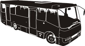 Siluetta del bus della città di vettore Fotografie Stock Libere da Diritti