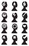 Siluetta del busto dell'uomo con i simboli concettuali in Brain Vector Icon Immagini Stock