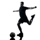 Siluetta del calciatore dell'uomo Fotografie Stock Libere da Diritti