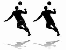 Siluetta del calciatore, tiraggio di vettore Fotografia Stock
