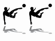 Siluetta del calciatore, tiraggio di vettore Fotografie Stock
