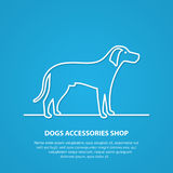 Siluetta del cane del profilo di vettore su fondo bianco Immagini Stock Libere da Diritti