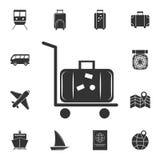 siluetta del carrello o del carretto dei bagagli di rotolamento con bagagli su icona Insieme dettagliato delle icone di viaggio P illustrazione vettoriale