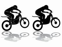 Siluetta del cavaliere di motocross, tiraggio di vettore Fotografia Stock Libera da Diritti