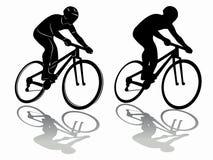 Siluetta del cavaliere sulla bici Fotografia Stock
