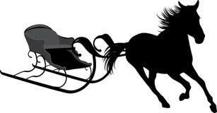 Siluetta del cavallo con le slitte Immagine Stock
