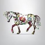Siluetta del cavallo dell'ornamento floreale Fotografie Stock