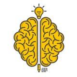 Siluetta del cervello su un fondo bianco Fotografie Stock Libere da Diritti