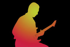 Siluetta del chitarrista Fotografie Stock Libere da Diritti