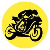 Siluetta del ciclista del motore Fotografia Stock