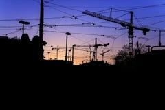 Siluetta del cielo di Zurigo durante il tramonto Fotografia Stock