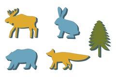 Siluetta del coniglio sui precedenti bianchi Isolato royalty illustrazione gratis
