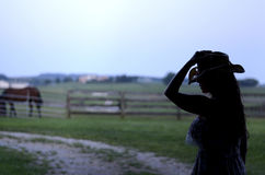 Siluetta del cowgirl Fotografia Stock