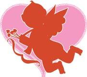 Siluetta del Cupid Fotografia Stock