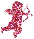 Siluetta del Cupid di giorno dei biglietti di S. Valentino con i puntini Immagine Stock