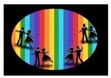 Siluetta del dancing Immagini Stock Libere da Diritti