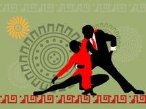 Siluetta del dancing couple1 Immagini Stock Libere da Diritti