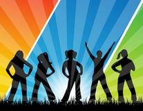 Siluetta del dancing della gente Fotografia Stock Libera da Diritti
